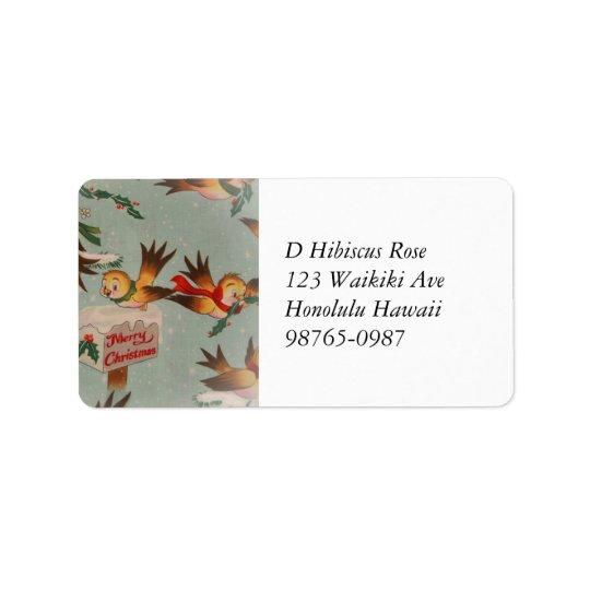 Vintage Merry Christmas Birds Label