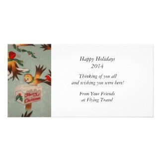 Vintage Merry Christmas Birds Photo Card