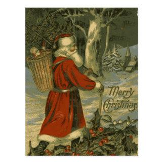 Vintage Merry Christmas Card St Nick Postcard