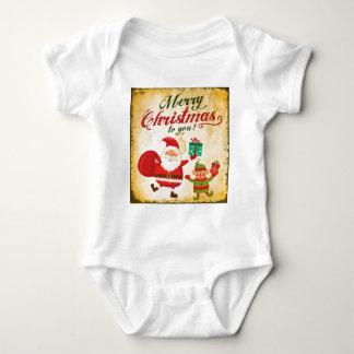 Vintage Merry Christmas Daning Santa and Elf Baby Bodysuit