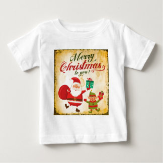 Vintage Merry Christmas Daning Santa and Elf Baby T-Shirt