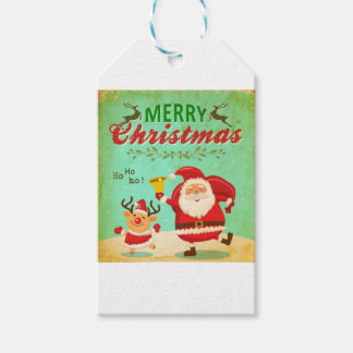 Vintage Merry Christmas Daning Santa and Reindeer. Gift Tags