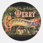 Vintage Merry Christmas Flower Design Round Stickers