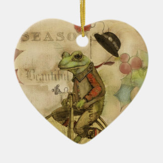 Vintage Merry Christmas Frog on Bicycle Ornaments