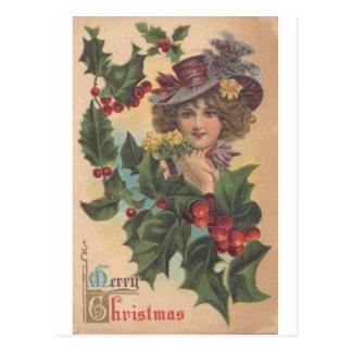 Vintage Merry Christmas Gibson Girl Postcard