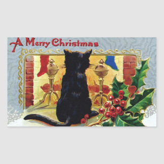 Vintage Merry Christmas Kitten Fireplace Holly Rectangular Sticker