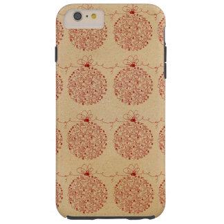 Vintage Merry Christmas Ornaments Pattern Tough iPhone 6 Plus Case