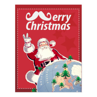 Vintage Merry Christmas Post Card with Santa Claus