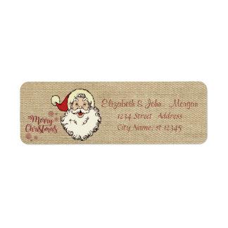 Vintage,Merry Christmas,Santa Claus Return Address Label