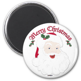 Vintage Merry Christmas Santa - script Fridge Magnet