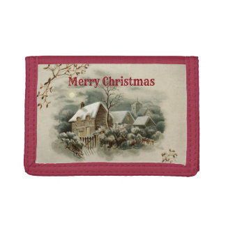 Vintage Merry Christmas Tri-fold Wallet