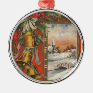 Vintage Merry Christmas with Bells Silver-Colored Round Decoration