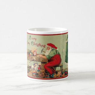 Vintage Merry Christmas with Santa's Workshop Basic White Mug