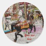 vintage merry-go-round horse round sticker