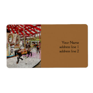 vintage merry go round with horses in the park shipping label