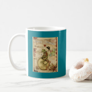 Vintage Merry little Christmas Frog on Bicycle Coffee Mug