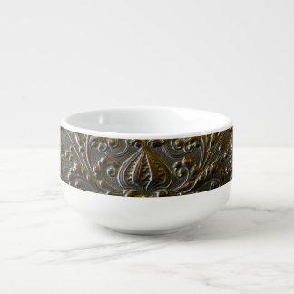 vintage metal decoration elegant floral old sculpt soup mug