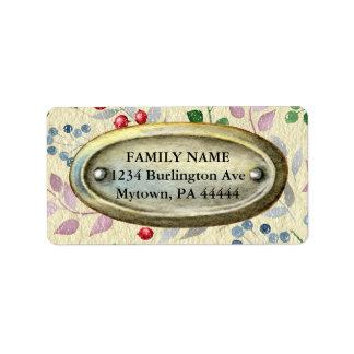 Vintage Metal on Floral Parchment Address Label