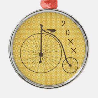 Vintage Metallic High Wheel Antique Bicycle Metal Ornament