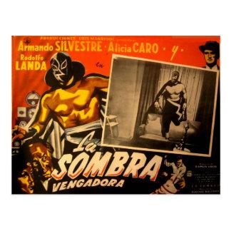 Vintage Mexican Masked Hero Lobby Cars Postcard