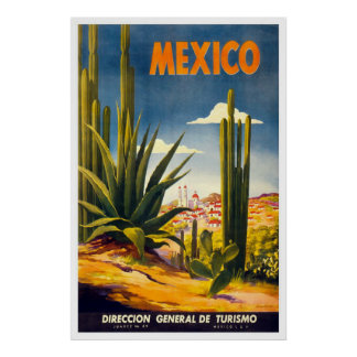 Vintage Mexico Travel Advertisement Poster