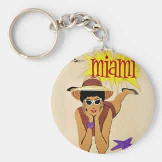 Vintage Miami Beach Basic Round Button Key Ring