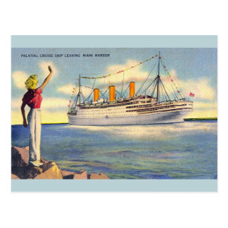 Vintage Miami Florida Cruise Ship Post Card