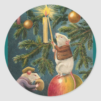 Vintage Mice & Candle Christmas Stickers