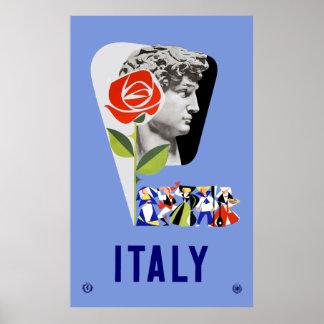 Vintage Michelangelo David Statue Italy Travel Poster