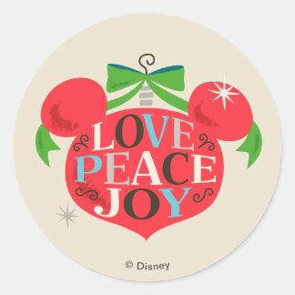 Vintage Mickey Mouse | Love, Peace & Joy Classic Round Sticker
