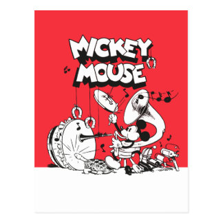 Vintage Mickey Silly Insturments Postcard