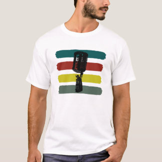Vintage Microphone and Stripes Shirt