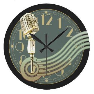 Vintage Microphone Large Clock