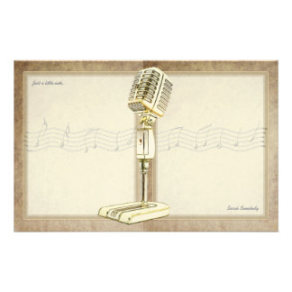 Vintage Microphone Notepaper Stationery