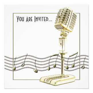 Vintage Microphone Party Invitations Invitation