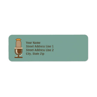 Vintage Microphone Retro Return Address Labels