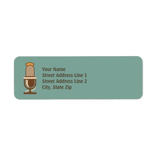 Vintage Microphone Retro Return Address Labels