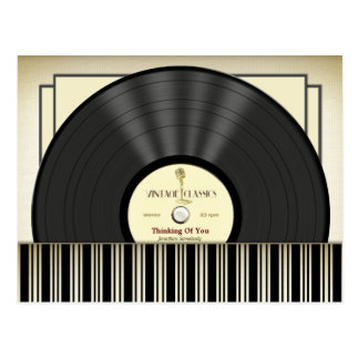 Vintage Microphone Vinyl Record Personalized Postcard