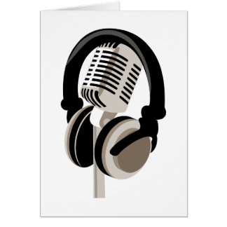 Vintage Microphone with Headphones Card
