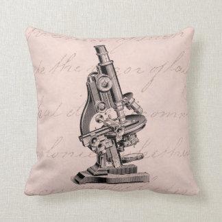 Vintage Microscope Illustration Pink Steampunk Throw Pillow