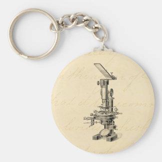 Vintage Microscope Illustration Retro Microscopes Key Ring