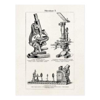 Vintage Microscope Illustration Retro Steampunk Postcard