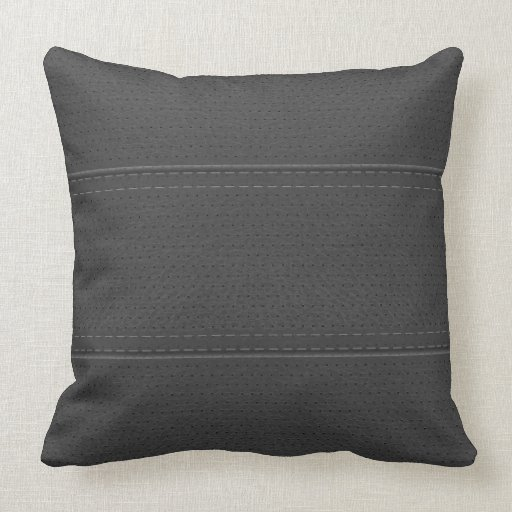 Vintage Mid-Gray Worn-Out Faux Leather Look Pillows