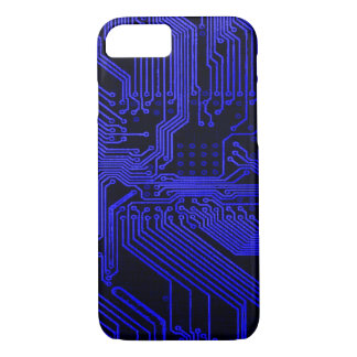 Vintage Midnight Blue Ghost Circuit Board Design iPhone 7 Case