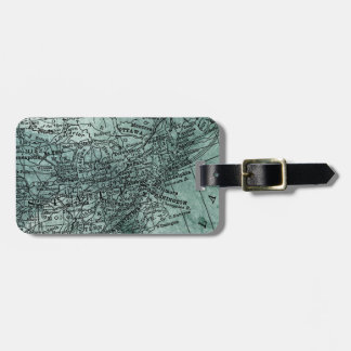 Vintage Midwest & Northeast USA Map Travel Luggage Tag