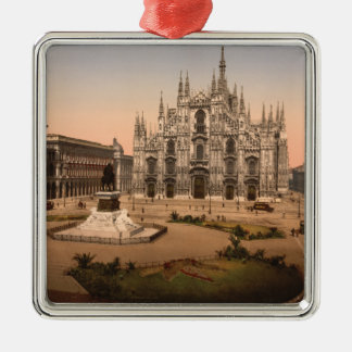 Vintage Milan Cathedral and Piazza,  Italy Metal Ornament