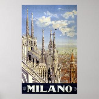 Vintage Milan Italy Travel Poster