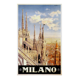 Vintage Milano Italy Travel Poster