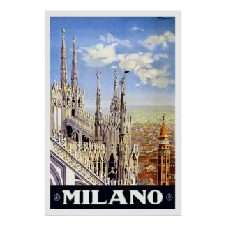 Vintage Milano Travel Advertisement Poster