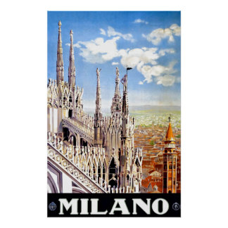 Vintage Milano Travel Unique Print Poster